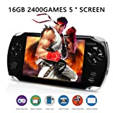 AURANY Handheld Game Console,16GB Pap Classic Handheld Portable Game Console with 5 Inch TFT Bigger Screen. 2400 Popular Games and 3M Camera Built-in. Supports Video & MP3 Player. Birthday (Color: Black)