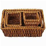 Household Essentials ML-9195 Rectangular-Shaped Woven-Willow Basket, Set of 4