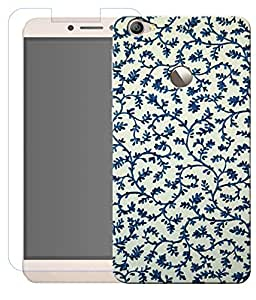 Combo of Blue Floral HD UV Printed Mobile Back Cover and Tempered Glass For Letv Le 1S