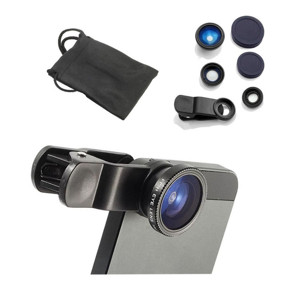 YOPO Universal Clip Camera lens kit for iPhone 6s plus/6s/6 plus/6,Samsung GalaxyS6/S5,Mobile Phones (Fish Eye Lens+ 2in1Macro Lens & Wide Angle Lens)(Black)