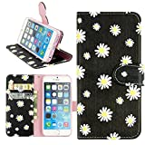 Cell Phones Accessories Best Deals - iPhone 6s Plus Case, Dimaka Cute Floral Pattern PU Leather Wallet Folio Cover [Cash Cards Slots Compartment] [Flip Kickstand] with Strap Hole Protective Purse Case for iPhone 6S Plus 5.5