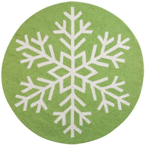 Snowflake Area Rug, ONE SIZE, GREEN/WHITE