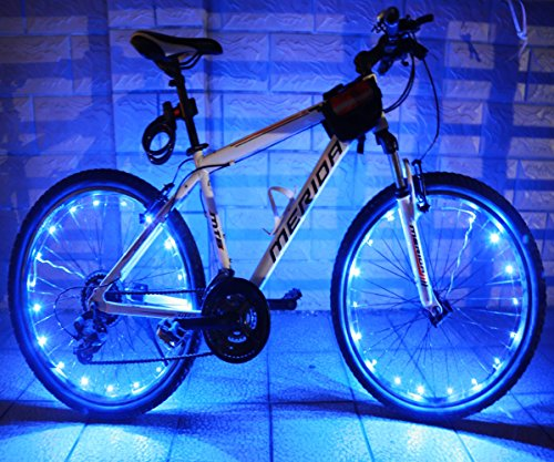 LEDMO(2 pack)Rechargeable Bicycle Bike Rim Lights, Bicycle Wheel Wire Rim 20 LED Cycling Flash Light, LED Blue Wheel Lights, Perfect for Safety and Fun color - Chargeable (Rim Bike compare prices)