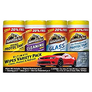Armor All Auto Care Cleaning Pack, Air Freshening, Glass, Protectant and Cleaning Wipes - 30 Sheets, Pack of 4 - 120 Wipes