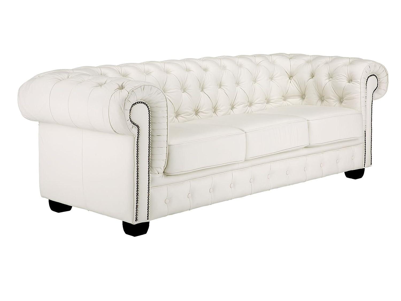 CHESTERFIELD Sofa (3-Sitzer, aus echtem Leder, Weiß