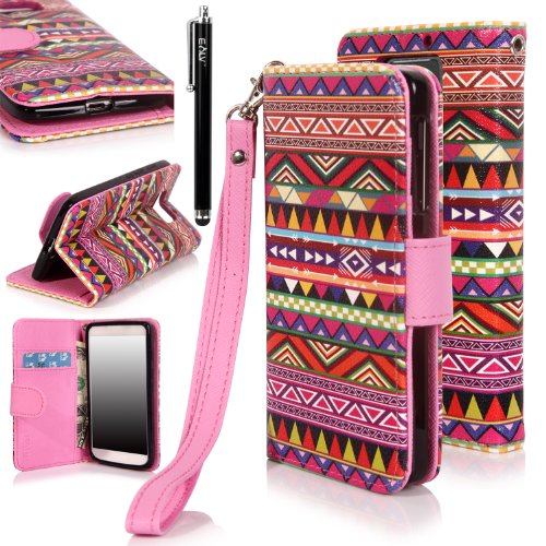 Droid Ultra Case, E Lv Deluxe Synthetic Leather Wallet Case Cover With Premium Interior Design For Motorola Droid Ultra (Late 2013) Xt1080 With 1 Black Stylus (Motorola Droid Ultra, Colorful Tribal)