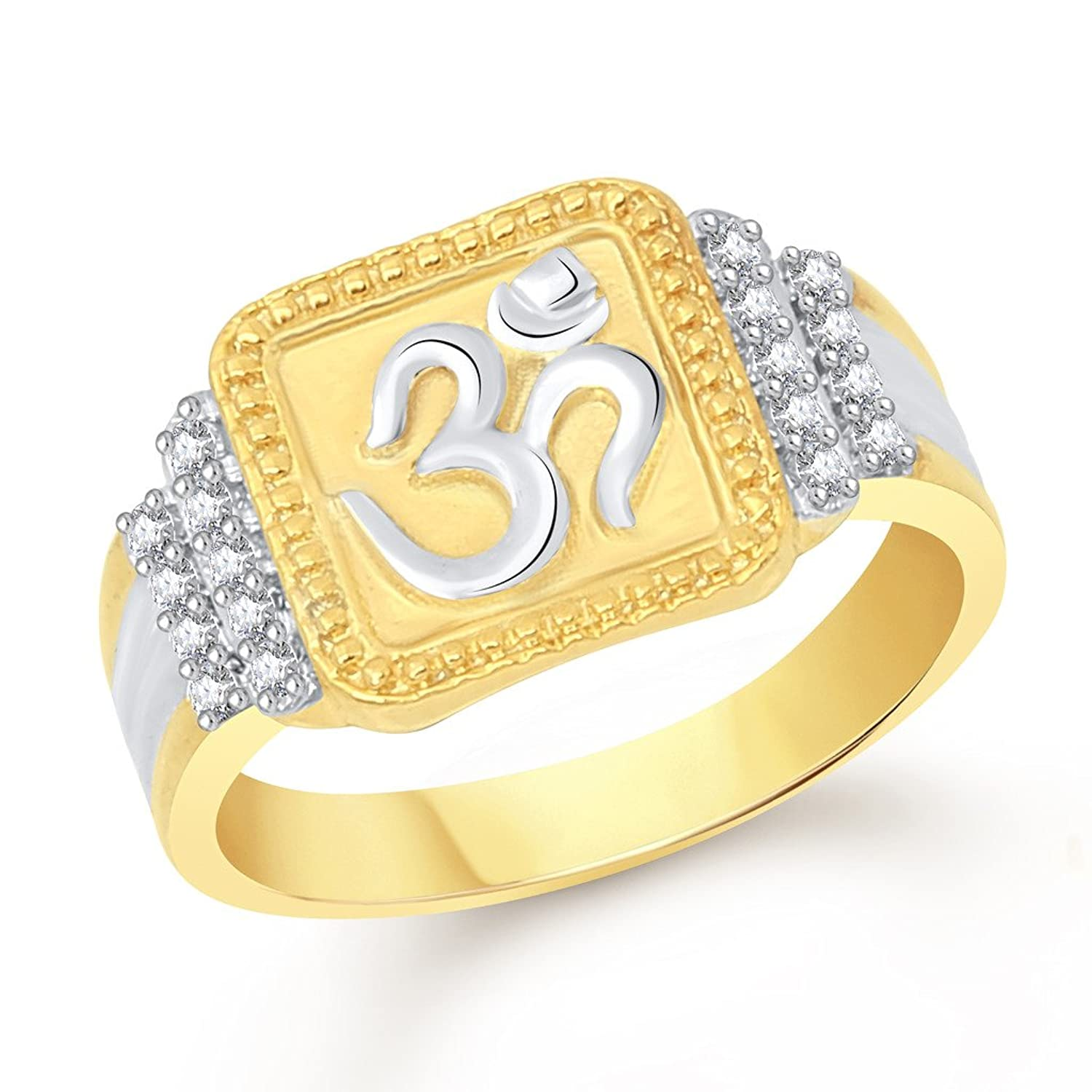 Vk Jewels Om Gold And Rhodium Plated Alloy Ring For Men Fr2022g [vkfr2022g]