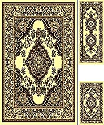 Rugs Area Traditional Medallion Persian Style Area Rugs Carpets Flooring (Cream, 3 Piece Set)