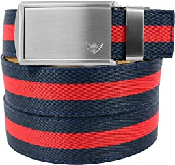 SlideBelts Canvas Belts (Red/Blue with Winged Silver Buckle)
