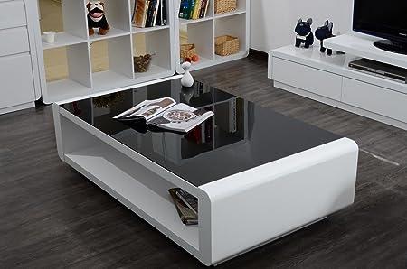 Mesa de centro de mesa en color blanco brillante barniz de cristal mesa auxiliar de madera DM, nuevo
