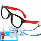 Kids Blue Light Glasses with Strap Computer and Gamer Eyewear Anti-Glare Protection Anti-Fatigue Anti UV Glasses for Smartphone Screens,Computer Or Tv Boys Girls Age 2-8 (Color: Black and Red Frame, Tamaño: 4.56)