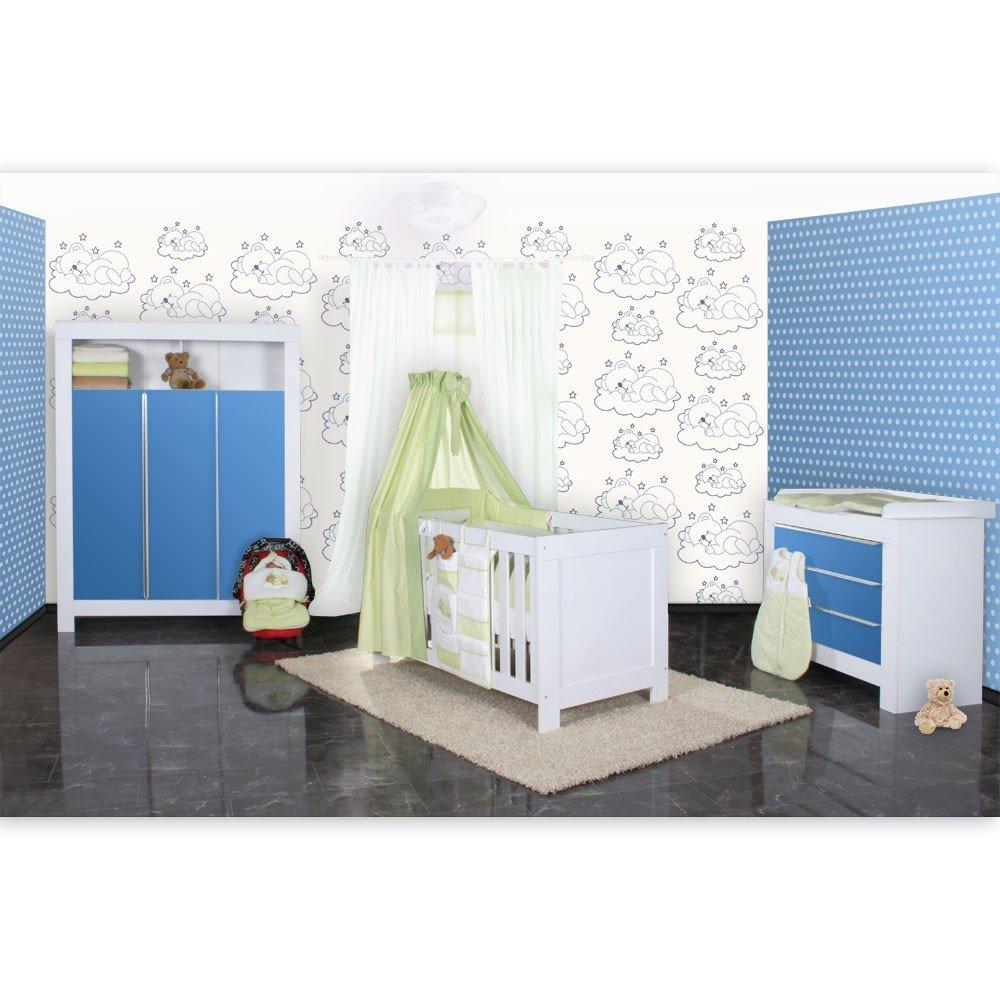 Babyzimmer Felix in weiss/blau mit 3 türigem Kl 19 tlg. + Sleeping Bear, grün