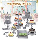 Cupcake Stands, 14 Set Metal Crystal Cake Holder Cupcake Stand Cake Dessert Holder with Pendants and Beads,Wedding Birthday Dessert Cupcake Pedestal Display, Silver USA STOCK (14, Silver) (Color: Silver, Tamaño: 14 Sets)
