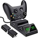 BEBONCOOL Xbox One Controller Charger Xbox One Controller Dual Charger Station for Xbox One/One S/One X/Xbox Elite Controller Charger Kit with 2Pcs Rechargeable Battery, Black