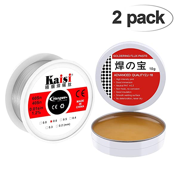 Crazepony 60-40 Tin Lead Rosin Core Solder Soldering Wire (0.6mm) 0.11lbs(50g) + Solder Flux Tin (10g) for Electrical Solderding and DIY (Color: A)