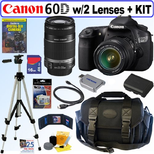 Canon EOS 60D 18 MP CMOS Digital SLR Camera with EF-S 18-55mm f/3.5-5.6 IS Lens & EF-S 55-250mm f/4.0-5.6 IS Telephoto Zoom Lens + 16GB Deluxe Accessory Kit