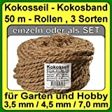 à 7.0 mm coir rope coir yarn tree binder garden string garden band from coconut fiber 100% natural fiber (à 7.0 mm - 50 m - Capacity up to 36 kg.)