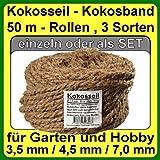 Ø 7.0 mm coir rope coir yarn tree binder garden string garden band from coconut fiber 100% natural fiber (Ø 7.0 mm - 50 m - Capacity up to 36 kg.)