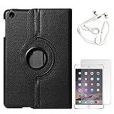DMG Full 360 Rotating Cover Case For Apple Ipad Mini 3 (Black) + White Earphones + Matte Screen