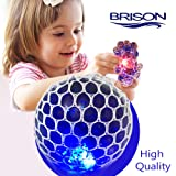 BRISON Upgraded Led Anti Stress Ball - Squishy Light up Toy 4 Boys Girls Kids Toddlers - Grape Mesh DNA Slime Ball - ADHD Fidget Stress Relief - Colorful Emoji Super Squishy Work Office Relax 4 Adults (Tamaño: LED Anti stress ball)