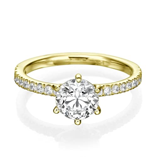 3/4 CT Engagement Ring Round Cut Solitaire with Accents E-F/I1-I2 18ct Yellow Gold