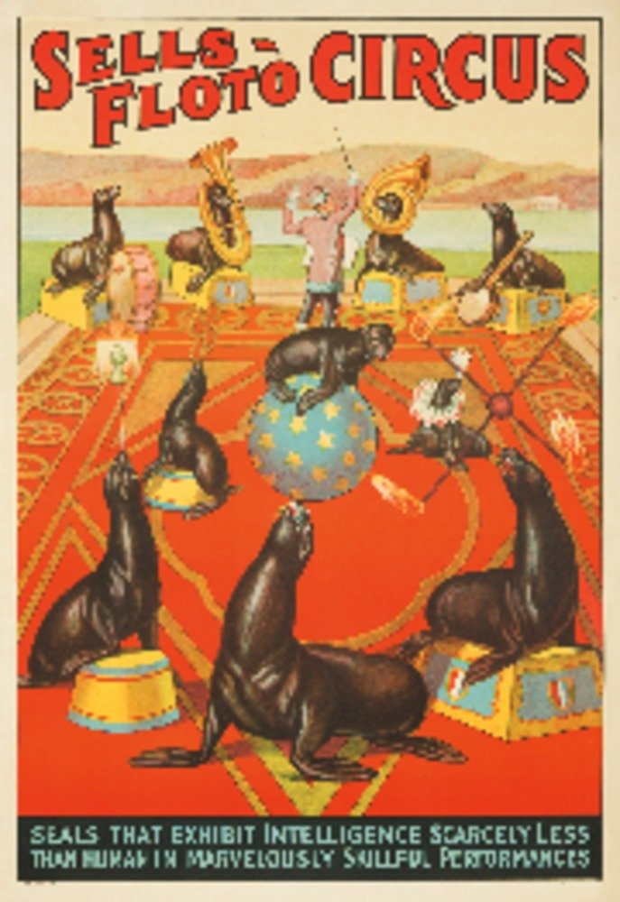 Sells - Floto Circus - Seals Vintage Poster USA c. 1932 (9x12 Collectible Art Print, Wall Decor Travel Poster) 0