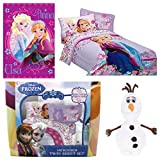 Disney Frozen Love Blooms Complete 6 Piece Twin Bed in a Bag - Comforter 3 Piece Sheet Set Loving Sisters Throw Olaf Cuddle Pillow