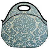 Snoogg Motif Print Blue Travel Outdoor Carry Lunch Bag Picnic Tote Box Container Zip Out Removable Carry Lunchbox...