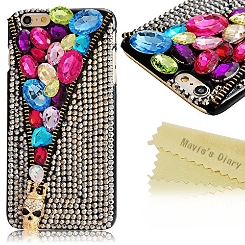 "Iphone 6 Plus Case - Mavis's Diary 3D Handmade Fashion Special Skull Zipper Design with Colorful Shiny Bling Diamond Rhinestone Hard Case Black Cover for Iphone 6 Plus(5.5"") with Soft Clean Cloth"