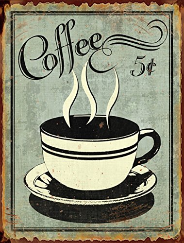 "Barnyard Designs 5 Cent Coffee Retro Vintage Tin Bar Sign Country Home Decor 11"" x 13"""