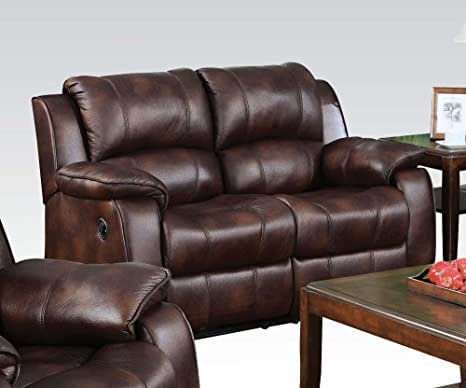 Acme 50513 Zanthe Motion Loveseat with Console, Brown Polished Microfiber