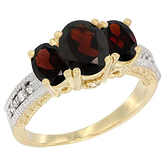 14ct Yellow Gold Diamond Natural Garnet Ring Oval 3-stone, sizes J - T
