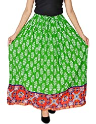 Jaipur Skirt Women's Cotton Regular Fit Skirt (Green)