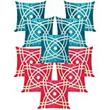 Abtractive Design Cushion Covers Combo Red & Sky Blue 40 X 40 Cms(10 Pcs Set)