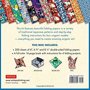 Origami Folding Papers Jumbo Pack: Japanese Designs: 300 High-Quality Origami Papers in 3 Sizes (6 inch; 6 3/4 inch and 8 1/4 inch) and a 16-page Instructional Origami Book
