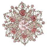 EVER FAITH Austrian Crystal Elegant Winter Snowflake Corsage Brooch Pin Pink - 2 Inch x 2 Inch