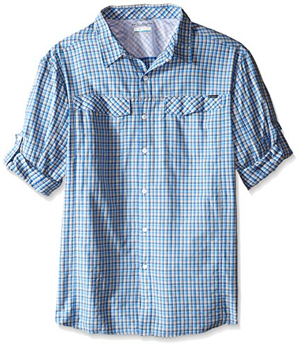 Columbia Men's Tall Silver Ridge Plaid Long Sleeve Shirt, Pacific Blue Ripstop Plaid, Large Tall