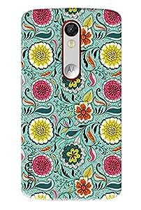 Omnam Flower Pattern On Green Base Printed Designer Back Cover Case For Motorola Moto X Force