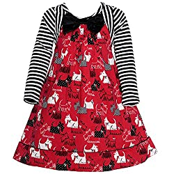 Bonnie Jean Little Girls Red Striped Scotty Dog Printed Christmas Dress 2-4T from Bonnie Jean