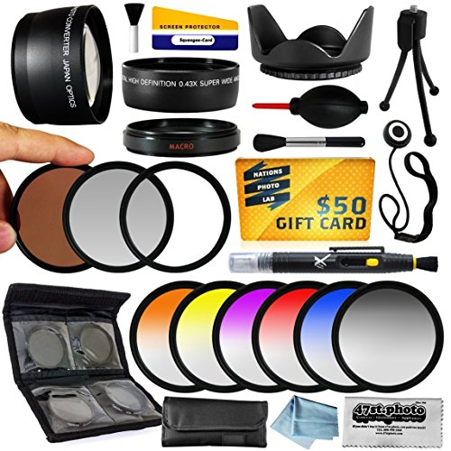 25 Piece Advanced Lens Package For The Canon Powershot G15 G16 Digital Camera Includes 0.43X Hd2 Wide Angle Panoramic Macro Fisheye Lens + 2.2X Hd Af Telephoto Lens + 3 Piece Pro Filter Kit (Uv, Cpl, Fld) + 6 Piece Multi-Colored Graduated Filter Set + 5 P front-607564