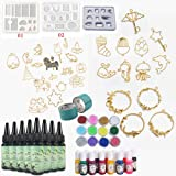 UV Resin Kit with Molds + Open Back Bezels + Pigment Liquid Colorants, Come with Holographic Glitter & Tapes | Crystal Clear Epoxy Resin for Jewelry Making Pendants Keychains Drop Earrings (Color: 240ml 3 molds 30 bezels with pigment glitter)