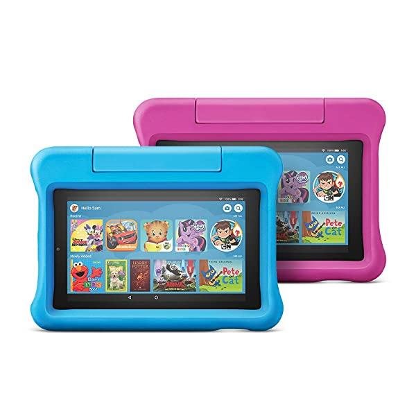 All-New Fire 7 Kids Edition Tablet 2-Pack, 16 GB, Blue/Pink Kid-Proof Case (Color: Blue/Pink)