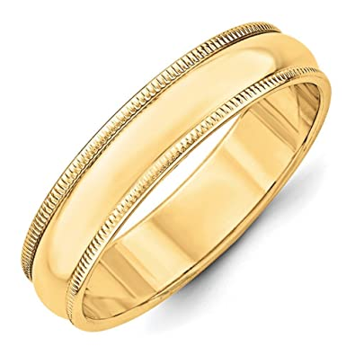 14ct Gold 5mm Milgrain Half-Round Size L 1/2 Wedding Band Ring