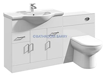 1450mm Modular High Gloss White Bathroom Combination Vanity Basin Sink Cabinet, WC Toilet Furniture & BTW Pan