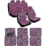 Pink Zebra Seat Covers & Floor Mats Full Set - Poly Pro Print Complete w/ Split Bench Option & 5 Headrests