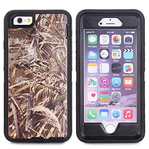 For Iphone 6s Plus Case - FiversTM Heavy Duty 3 in 1 Three Advantages Waterproof Dustproof Shakeproof with Forest Camouflage Desig Cell Phone Cases for Iphone 6s Plus 55 inch Grass- Black