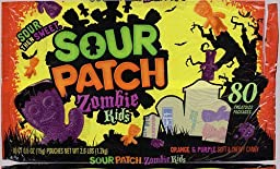 80 Sour Patch Zombie Kids Mini Bags Trick or Treat Halloween Sweet and Sour Candy 2.6 LBS