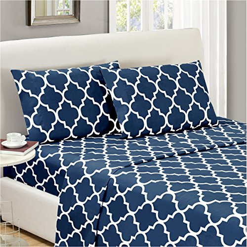 Mellanni Bed Sheet Set Full-Navy-Blue - HIGHEST QUALITY Brushed Microfiber Printed Bedding - Deep Pocket, Wrinkle, Fade, Stain Resistant - Hypoallergenic - 4 Piece (Full, Quatrefoil Navy Blue) (Blue Bed Sheets Full compare prices)