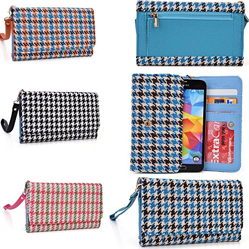 Phone Holder With Internal Wallet Features Plus Removable Wristlet Strap- Retro Houndstooth Plaid Pattern- Universal Fit For Virgin Mobile Htc Desire 816 front-1046842