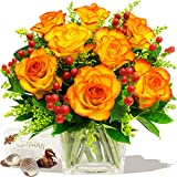 TUSCANY BOUQUET OF ORANGE ROSES & CHOCOLATES - Birthday Flowers Thank You and Anniversary Bouquets by Eden4flowers